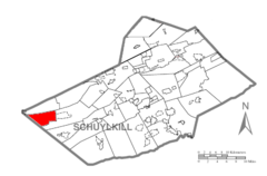 Map of Schuylkill County, Pennsylvania Highlighting Hubley Township.PNG