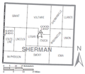 Map of Sherman County, Kansas with municipal and township labels.png