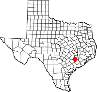 Map of Texas highlighting Colorado County
