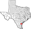 State map highlighting Nueces County