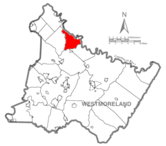 Map of Westmoreland County, Pennsylvania Highlighting Bell Township.PNG