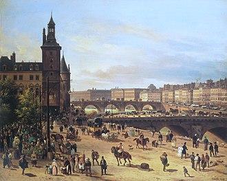 Paris under Louis-Philippe - The flower market on the Île de la Cité in 1832