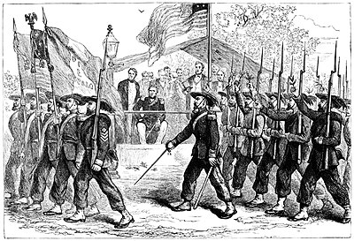 Review of the Garibaldi Guard by President Abraham Lincoln March past of the 'Garibaldi Guard' before President Lincoln, 1861-1865 (c1880).jpg