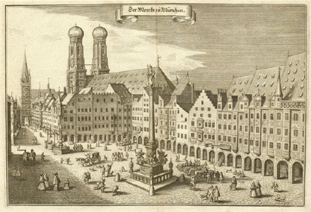 Marienplatz, Munich about 1650