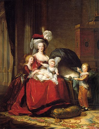 Louis XVII of France - Queen Marie Antoinette with her children, 1787 at Versailles; (L-R); Marie-Thérèse Charlotte, known as Madame Royale at court; the Queen with the Duke of Normandy on her lap; the Dauphin is on the right pointing into an empty cradle; the cradle used to show Madame Sophie; she died later in the year and had to be painted out; by Élisabeth-Louise Vigée-Le Brun; the Fleur-de-lis of France and the Bourbons can be seen behind on the cabinet