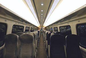 British Rail Mark 4 - The interior of Standard Class aboard a GNER 'Project Mallard' refurbished Mark 4 TSO vehicle