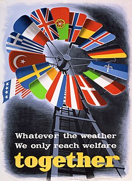 One of a number of posters created to promote the Marshall Plan in Europe. The blue and white flag between those of Germany and Italy is a version of the Trieste flag.