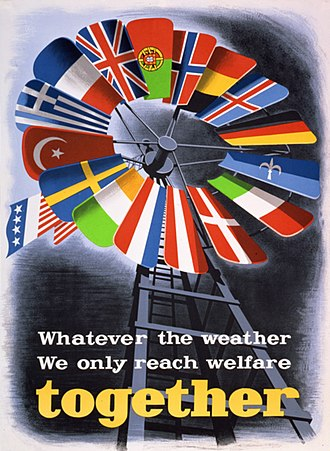 Development aid - A poster promoting the Marshall Plan in Europe, the first large scale development program. It was designed to boost European economies shattered by war and prevent the growth of communist influence.