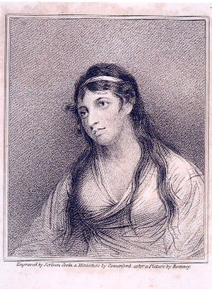 Mary Tighe - Frontispiece portrait from Psyche, with Other Poems. 5th ed. London: Longman, Hurst, Rees, Orme, and Brown, 1816.