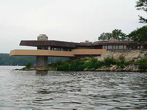 Mahopac, New York - The Frank Lloyd Wright-inspired Massaro House juts into Lake Mahopac on Petre Island