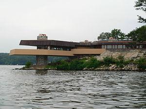 Mahopac, New York - The Frank Lloyd Wright-inspired Massaro House juts into Lake Mahopac on Petre Island