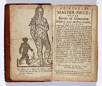 Aristotle's Masterpiece - Frontispiece and  contents page from 1704  edition of Aristotle's Masterpiece