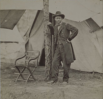 Ulysses S. Grant and the American Civil War - A determined Lt. Gen. Grant standing alone in the field at Cold Harbor. Photographed by Mathew Brady in 1864.