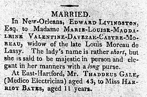 Edward Livingston - Image: Matrimony notice moreau de lassy