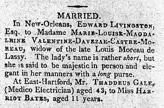 Edward Livingston - Image: Matrimony notice moreau de lassy