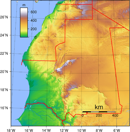 Topography of Mauritania Mauritania Topography.png