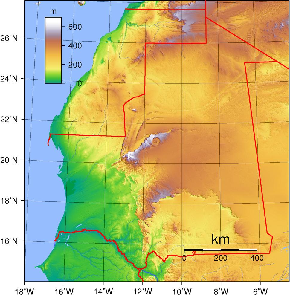 Mauritania Topography