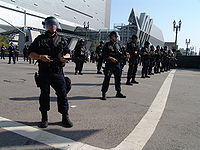The LAPD during May Day 2006 in front of the new Caltrans District 7 Headquarters