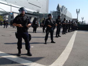 Baton (law enforcement) - LAPD riot officers with straightsticks during a protest in Los Angeles.