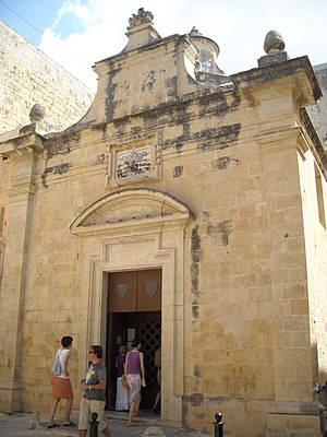 St Agatha's chapel, Mdina - Image: Mdina St Agatha chapel