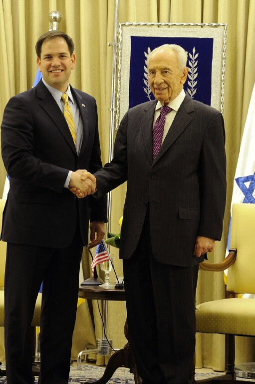 Meeting in February 2013 with Israeli President Shimon Peres during trip to Jordan and Israel