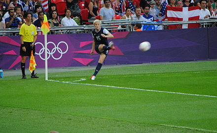 Rapinoe takes a corner kick in the gold medal match at the 2012 London Olympics. Megan Rapinoe corner kick.jpg