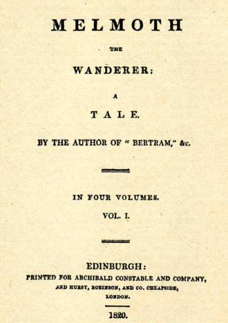 Melmoth the Wanderer - Title page of Volume 1, First edition