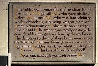 Ben Gimbert - Memorial tablet in St Andrews Church, Soham to James Nightall and Benjamin Gimbert
