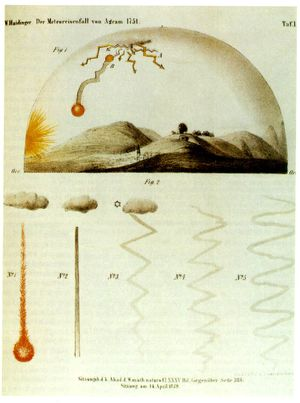 Hrašćina - Hraschina meteorite, first documented fall in history, contemporary illustration