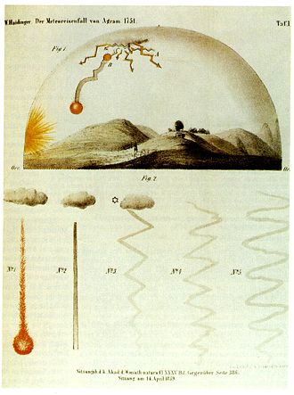 Hraschina meteorite - Drawing by M. W. Haidinger depicts the fall of the meteorite based on eyewitness accounts.