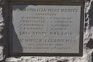 Sir William Clarke, 1st Baronet - Clarke laid the foundation stone for the Metropolitan Meat Market in February 1880