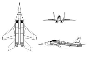 3-view drawing of MiG-29