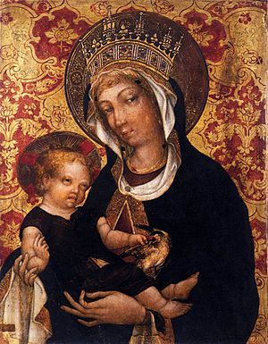 "Michele Giambono - Virgin and Child (c. 1450) Galleria Franchetti, Ca' d'Oro, Venice Movement: Renaissance (Early Italian, ""quattrocentro"",) Theme:  Saints, Size: 56 x 47 cm"