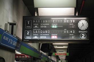 Milan suburban railway service - Image: Milano P Garib passante tabellone