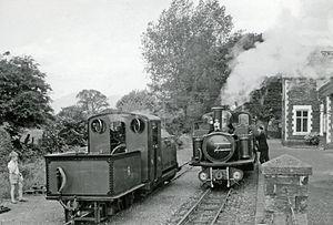 Minffordd railway station - Two Ffestiniog locomotives at Minfford, 1964