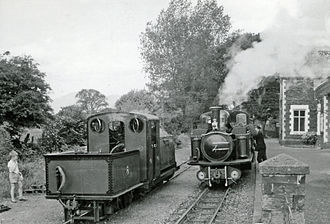 Minffordd railway station - Two Ffestiniog locomotives at Minfford, 1964