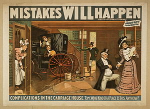 Carriage house - Fanciful rendering of the interior of a carriage house from a theatrical poster (1898)