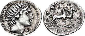 Aquillia (gens) - Denarius of Manius Aquillius, 109-108 BC. On the obverse is the head of Sol, while the reverse depicts Luna driving a biga with stars around.