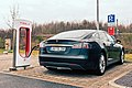 Model S charging at a Tesla Supercharger station in Germany crooped.jpg