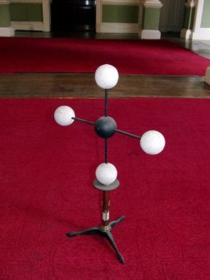 Ball-and-stick model - Hofmann's 1865 stick-and-ball model of methane (CH4).