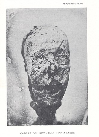 James I of Aragon - Mummified head of James, exhumed in 1856
