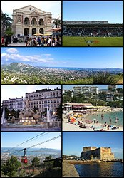 Top left:Toulon Opera House, Top right:Mayol Stadium (Le Stade du Mayol), 2nd:Panoramic view of downtown Toulon and its port, 3rd left: Place de la Liberté, 3rd right: The beaches of Mourillon, Bottom left:The cable car to Mount Faron, Bottom right:Fort Saint-Louis