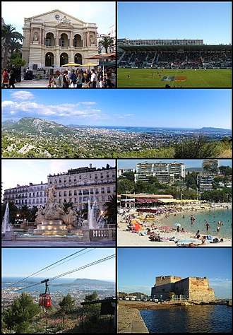 Toulon - Top left: Toulon Opera House, Top right: Mayol Stadium (Le Stade du Mayol), 2nd: Panoramic view of downtown Toulon and its port, 3rd left: Place de la Liberté, 3rd right: The beaches of Mourillon, Bottom left: The cable car to Mount Faron, Bottom right: Fort Saint-Louis