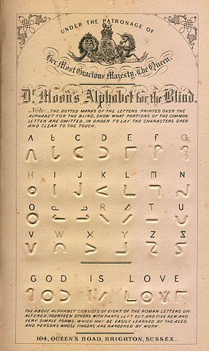 Moon type - Dr Moon's Alphabet for the Blind, from his Light for the Blind, published in 1877