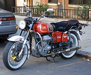 "Transverse engine - The engine in this Moto Guzzi motorcycle is described as ""transverse"" even though the crankshaft is in line with the frame."