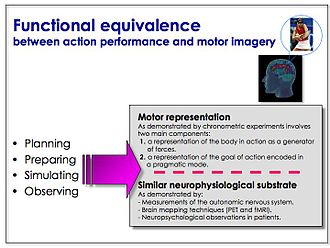 Motor imagery - Converging empirical evidence indicates a functional equivalence between action execution and motor imagery.