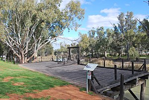 Moulamein - The old wharf at Moulamein on the Edward River; riverboats carted wool and other products to and from Moulamein until the coming of the railway in 1923