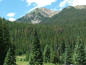 Montezuma, Colorado - View of one of the mountains that encircle the town.