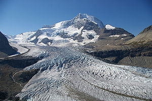 Robson Glacier - Looking up the robson Glacier to the summit of Mount Robson.