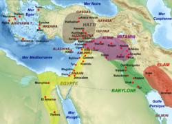 Геополитическая карта Ближнего Востока в период Амарны, до того, как Амурру стал частью хеттской зоны влияния